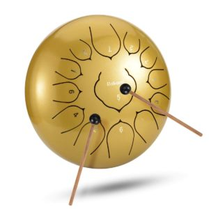 Rakumi Tongue drum in golden color with lotus flower tongues. best for customer ratings on Amazon